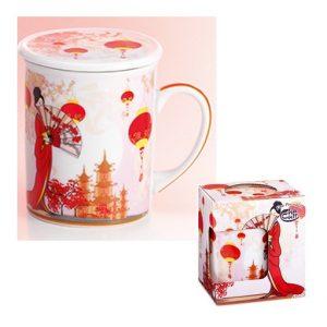 Taza Geisha kimono rojo